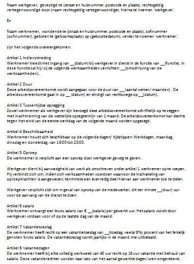 Soorten Oproepcontract
