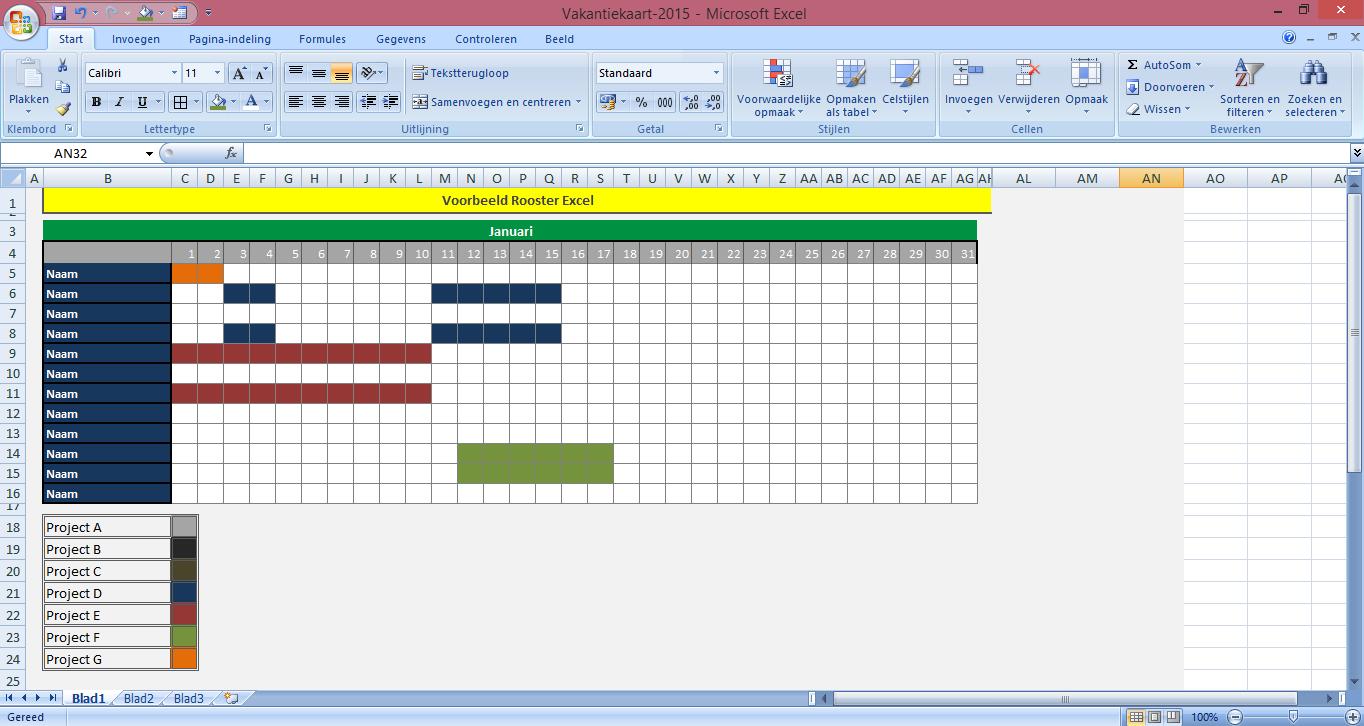 Voorbeeld rooster excel for Planning maken