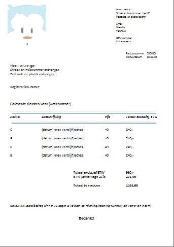 Voorbeeld factuur belgie