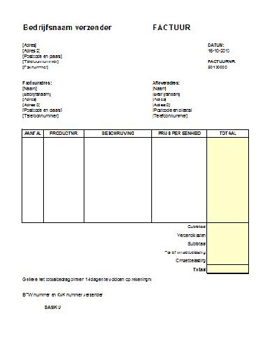 Snel Factuur Voorbeeld downloaden in Excel