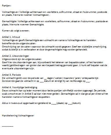 voorbeeld brief machtiging Voorbeeld Brief Machtiging | gantinova
