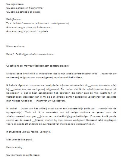ontslagbrief voorbeeld word Snel Eenvoudig een brief voorbeeld downloaden in Word ontslagbrief voorbeeld word