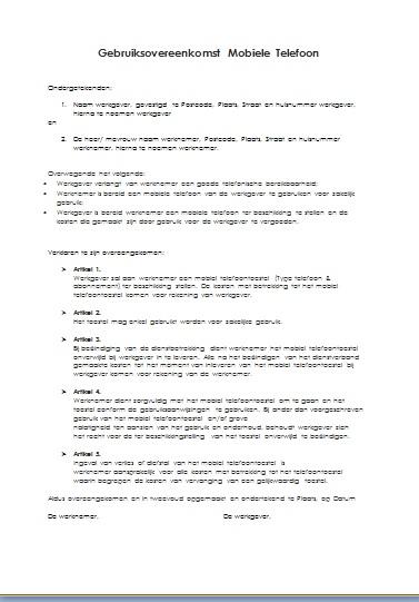 voorbeeldbrief overeenkomst download Voorbeeld Overeenkomst Mobiele telefoon voorbeeldbrief overeenkomst