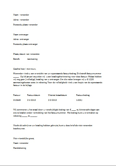 voorbeeldbrief aanmaning betaling Download een Voorbeeld Aanmaning in Word voorbeeldbrief aanmaning betaling