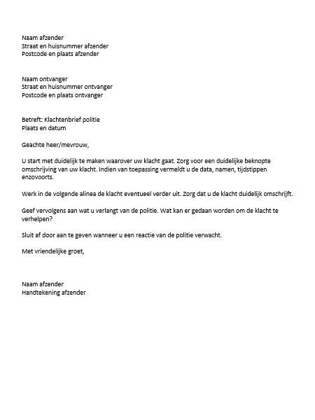 voorbeeld klachtenbrief politie voorbeeld klachtenbrief politie