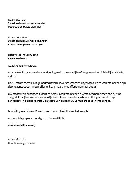 opdracht klachtenbrief Voorbeeld Klachtenbrief