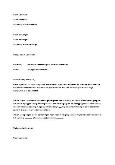 officiele brief opzet Voorbeeld Zakelijke Brief