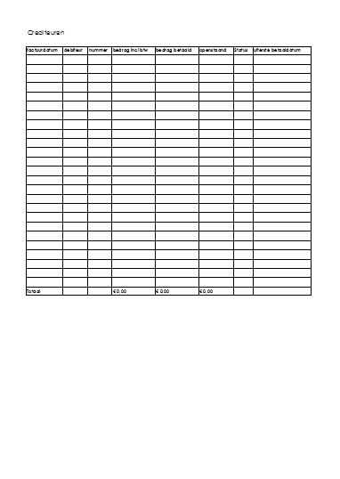 Voorbeeld Administratie Crediteuren in Excel