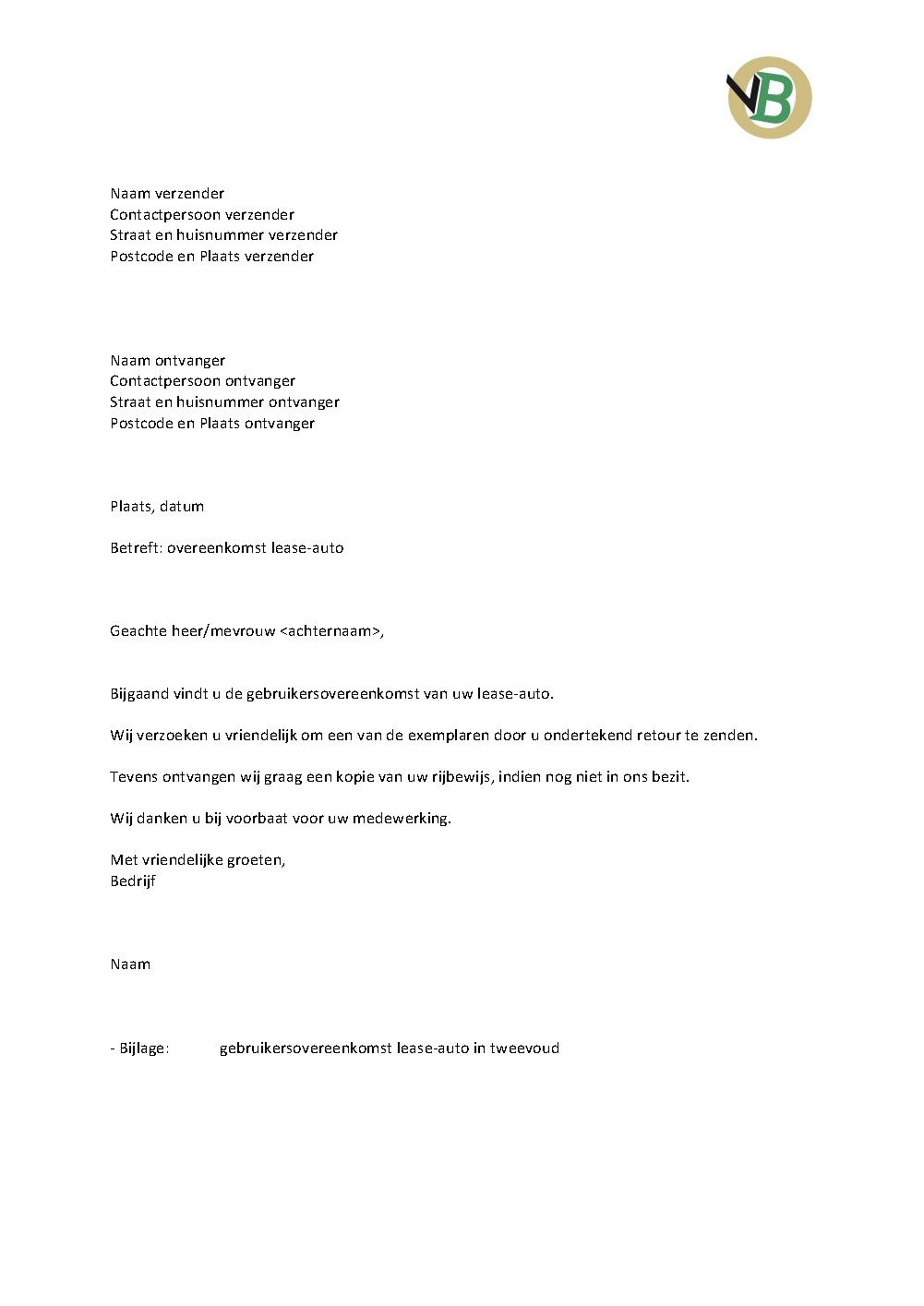 Voorbeeld Begeleidende Brief