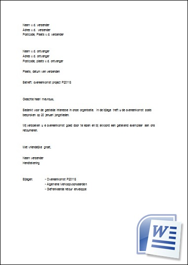 Artikel 12 procedure voorbeeld brief