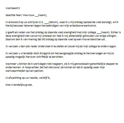 voorbeeld ontslagbrief werkgever economische redenen Bezwaarschrift Ontslag