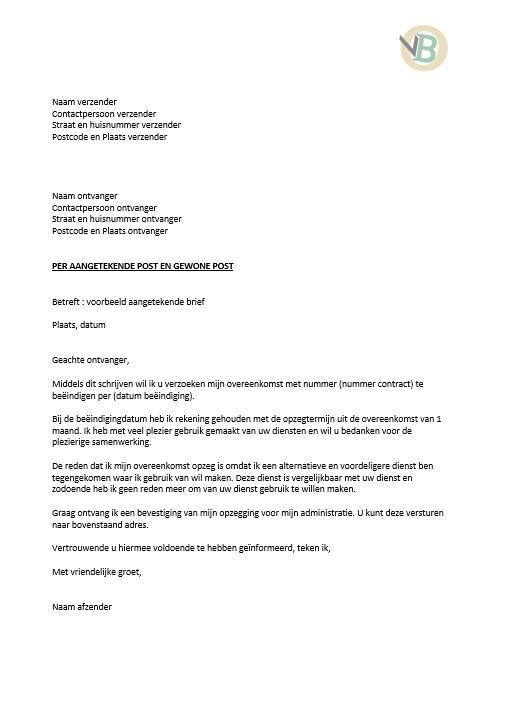aangetekende ontslagbrief brief voorbeeld