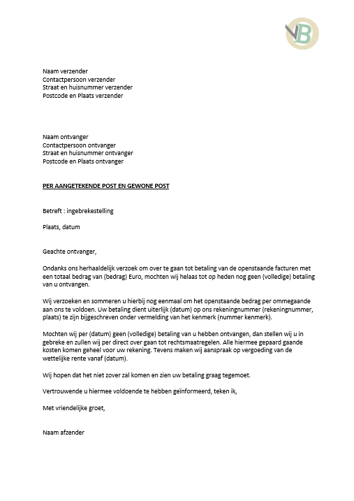voorbeeldbrief ingebrekestelling brief voorbeeld