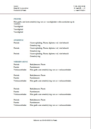 CV maken voorbeeld in Word