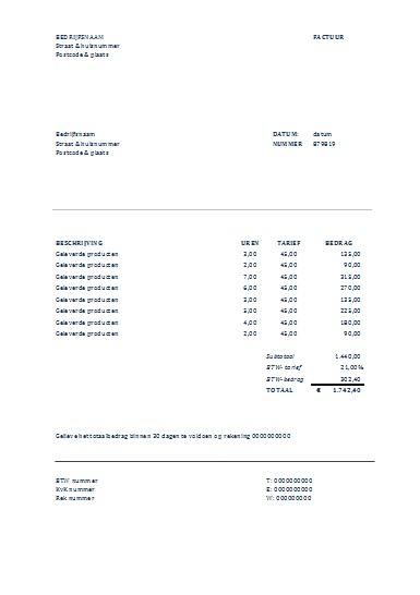 Factuur Excel