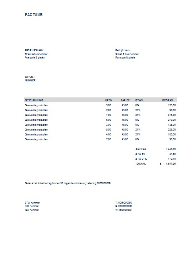 voorbeeld factuur excel gratis Factuur Excel