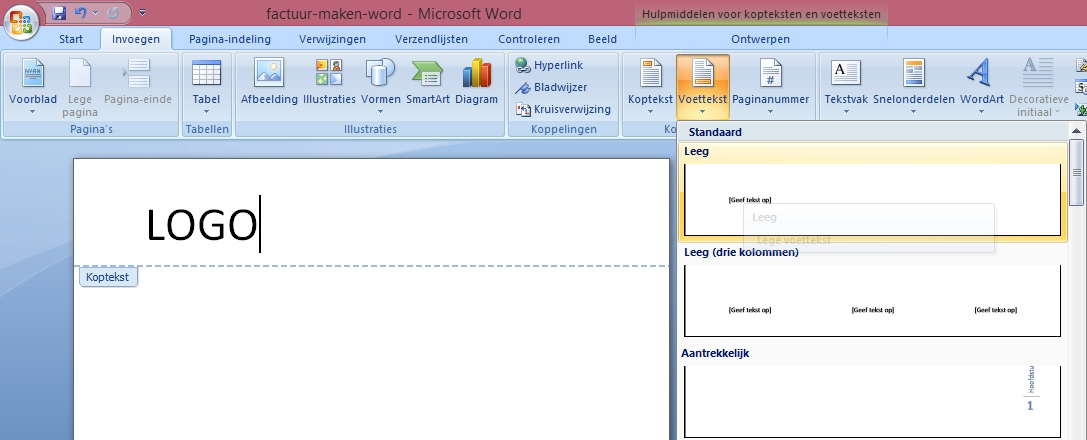Factuur Maken in Word of in Excel