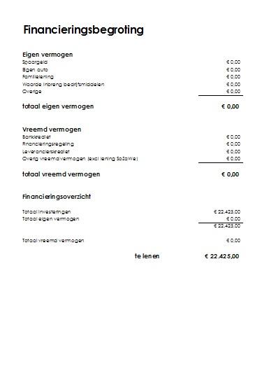 Voorbeeld Financieringsbegroting Snel En Eenvoudig