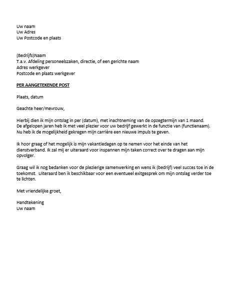 vb ontslagbrief Ontslagbrief Voorbeeld