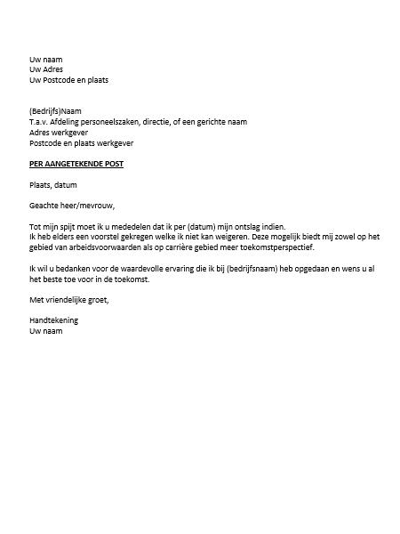 welke datum in ontslagbrief Ontslagbrief Voorbeeld