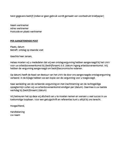voorbeeld ontslagbrief werkgever op staande voet Ontslagbrief werkgever