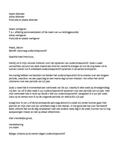 voorbeeld ouderschapsverlof brief Ouderschapsverlof voorbeeld brief