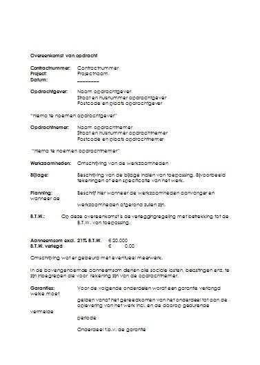 bevestiging offerte voorbeeldbrief Download een Overeenkomst van Opdracht bevestiging offerte voorbeeldbrief