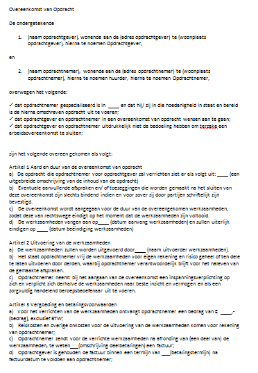 Overeenkomst van Opdracht ZZP
