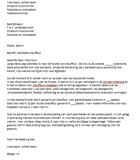 motivatiebrief chauffeur Sollicitatiebrief Chauffeur