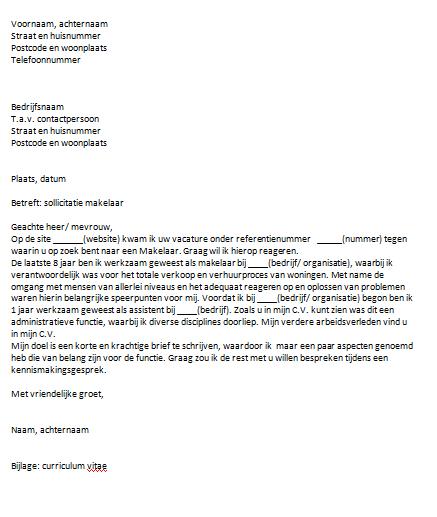 solliciteren op eigen functie voorbeeldbrief Sollicitatiebrief Makelaar solliciteren op eigen functie voorbeeldbrief