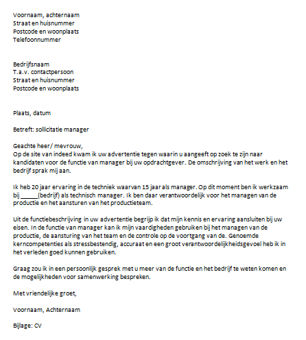 motivatiebrief productie Sollicitatiebrief Manager motivatiebrief productie