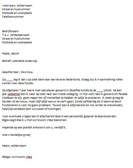 motivatiebrief voorbeeld onderwijs Motivatiebrief Voorbeeld Onderwijs | gantinova