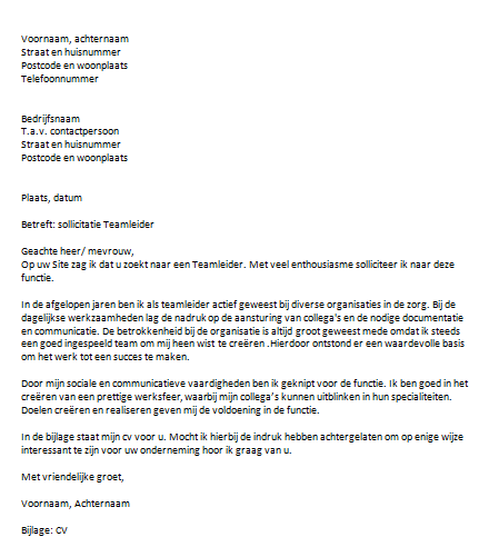 motivatiebrief teamleider Sollicitatiebrief Teamleider motivatiebrief teamleider
