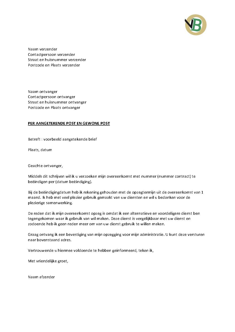Voorbeeld Aangetekende Brief