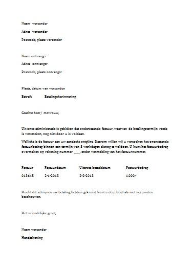 officiele brief opstellen Voorbeeld Zakelijke Brief