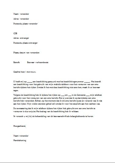 voorbeeldbrief bezwaar boete Voorbeeld Bezwaarschrift