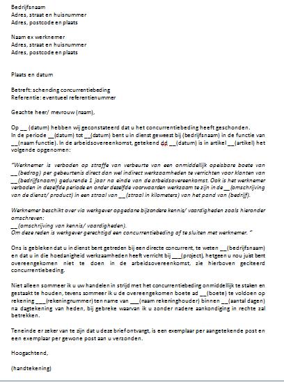 voorbeeld project brief Voorbeeld Concurrentiebeding Brief
