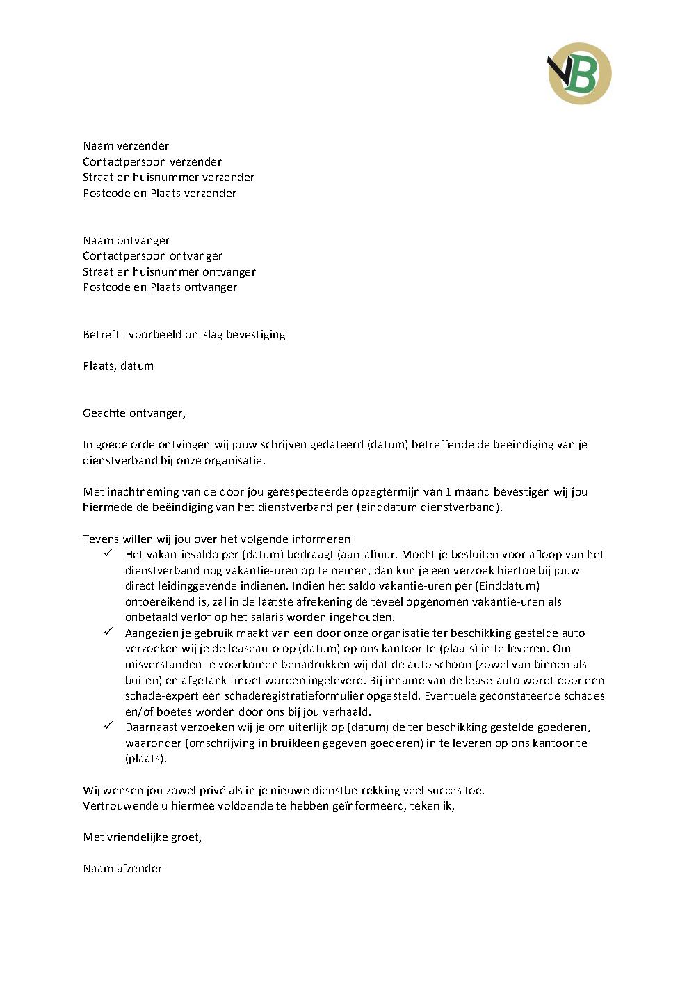 concept ontslagbrief werknemer Voorbeeld Brief Ontslag bevestiging