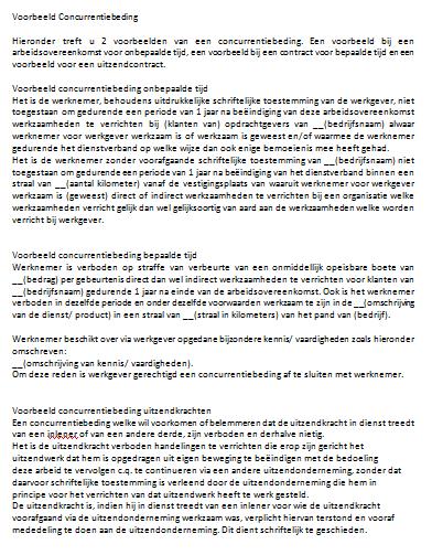 voorbeeldbrief vaststellingsovereenkomst Concurrentiebeding voorbeeldbrief vaststellingsovereenkomst