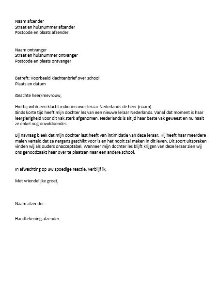 reactie op een klachtenbrief Voorbeeld Klachtenbrief