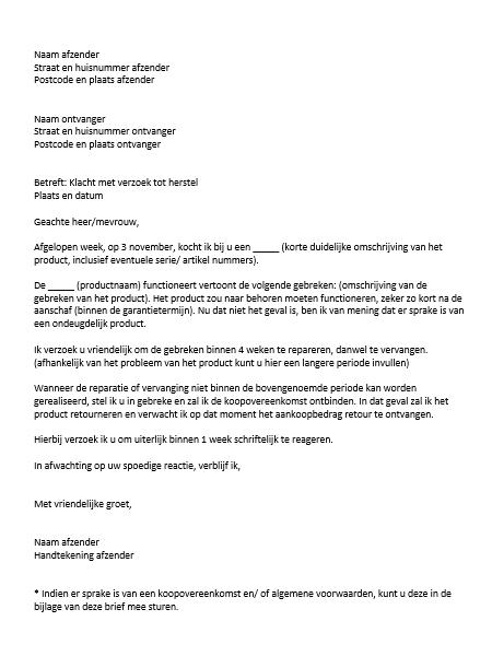 klachtenbrief schrijven voorbeeld Voorbeeld Brief Klacht