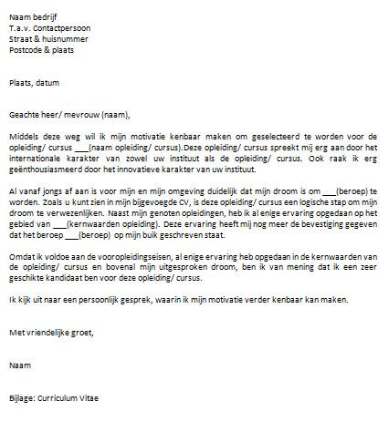 afsluiting motivatie brief Voorbeeld Motivatiebrief