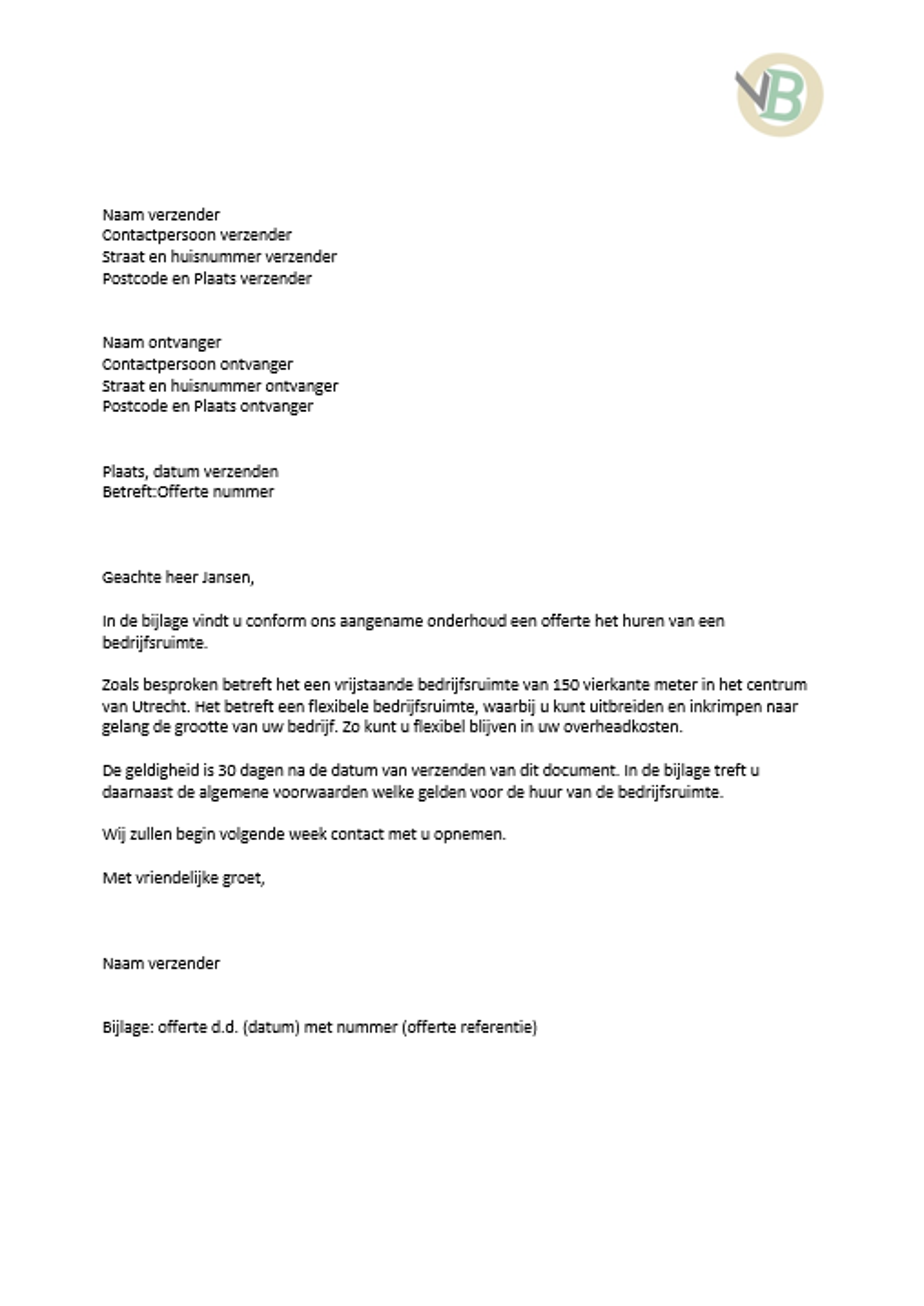 offerte brief voorbeeld Voorbeeld offertebrief