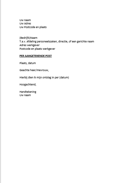 aangetekende ontslagbrief Ontslagbrief Voorbeeld