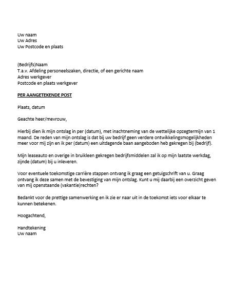 aangetekende ontslagbrief Ontslagbrief