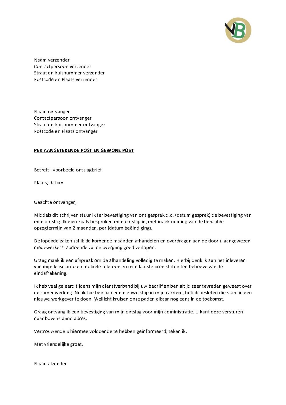 vb ontslagbrief Voorbeeld Ontslagbrief