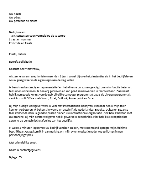 motivatiebrief receptioniste telefoniste Motivatiebrief Receptioniste Telefoniste | gantinova