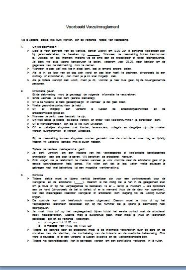 probleemanalyse plan van aanpak Zie een Voorbeeld Verzuimreglement probleemanalyse plan van aanpak