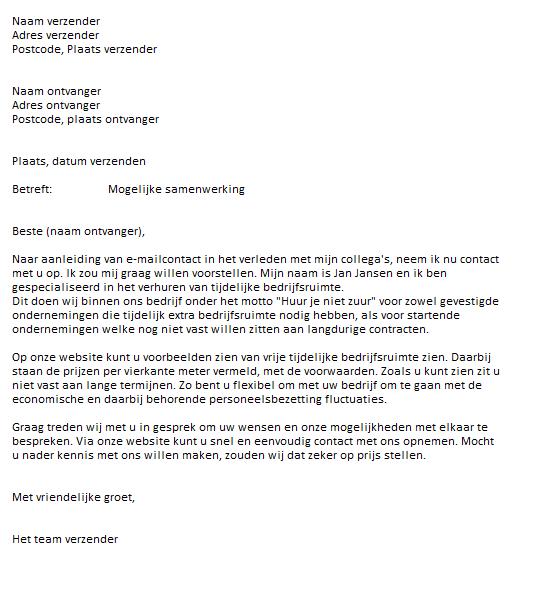 Voorbeeld Zakelijke Brief 2, samenwerking