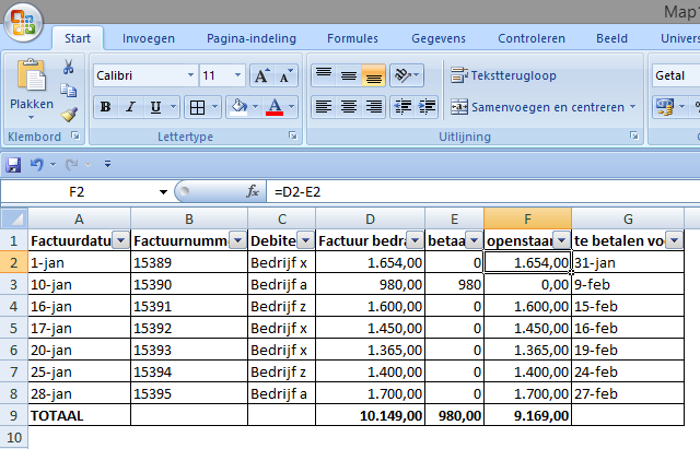 Excel Voorbeeld, mogelijkheden voor Spreadsheets
